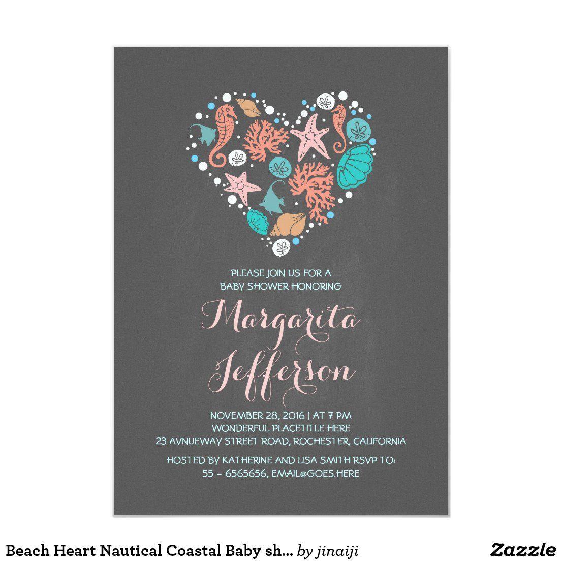 Beach Heart Nautical Coastal Baby shower Invitation ...