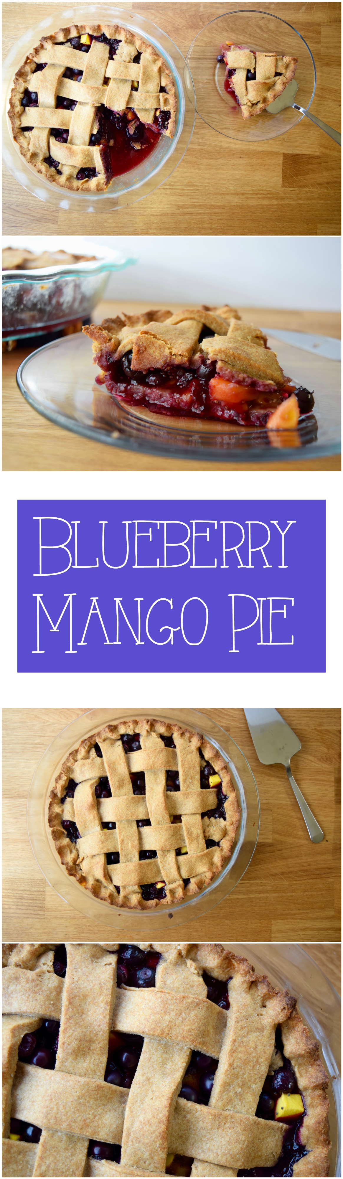 Easy vegan and sugar free blueberry and mango pie. A perfect flavor match!