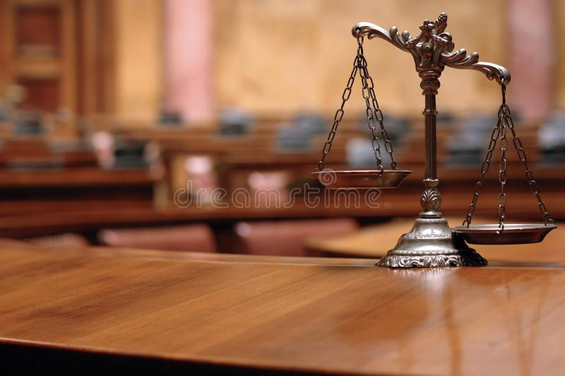 Decorative Scales Of Justice In The Courtroom Symbol Of Law And