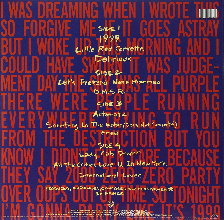 Prince 1999 2lp 180 Gram Vinyl Great Song Lyrics Vinyl Record Album Album Covers
