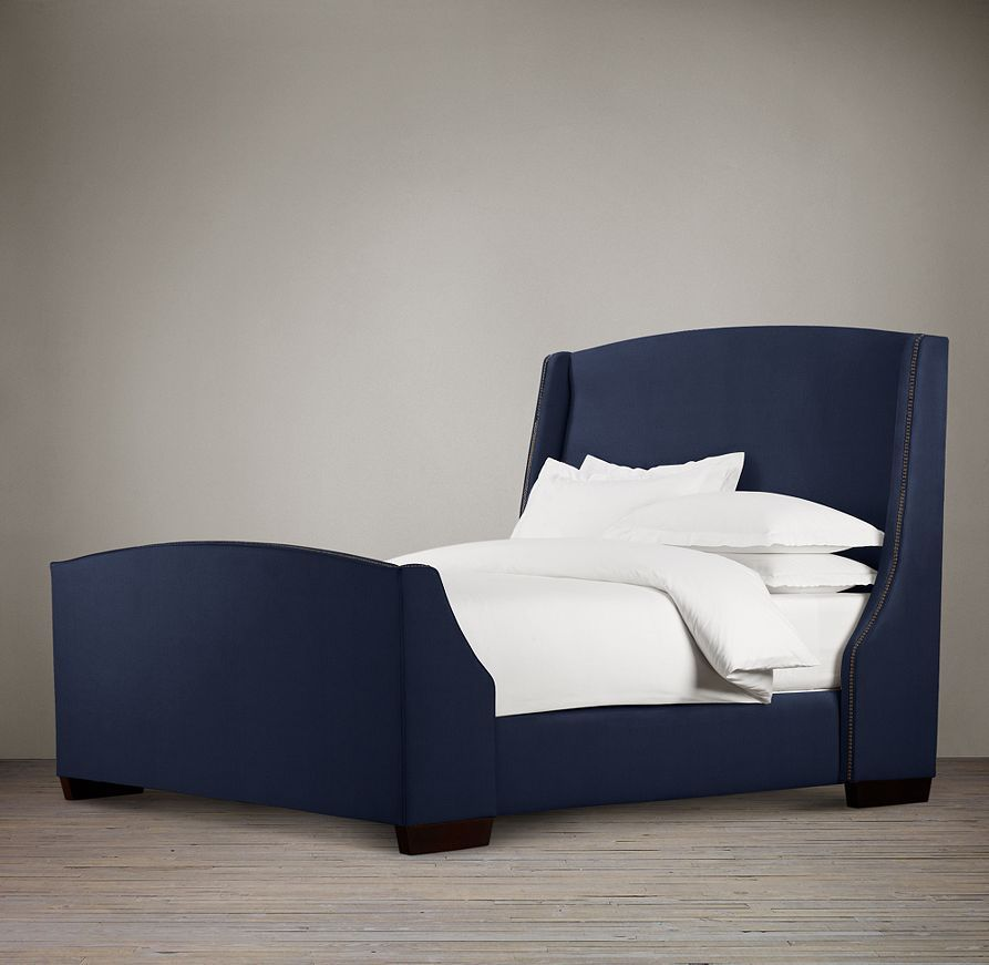 Restoration Hardwarenwarner Nailhead Upholstered 68 Bed With Footboard Bed Luxurious Bedrooms Fabric Bed