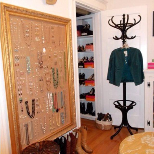 Huge framed cork board for hanging jewelry