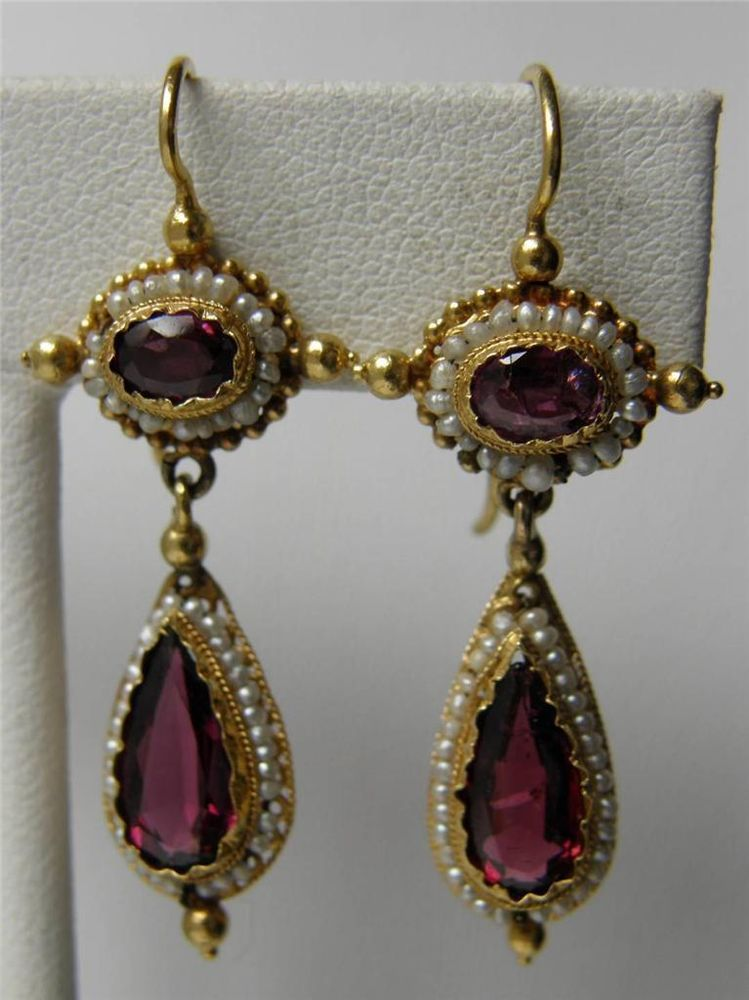 Antique Victorian Etruscan 14k Gold Garnet Seed Pearl Teardrop Dangle Earrings