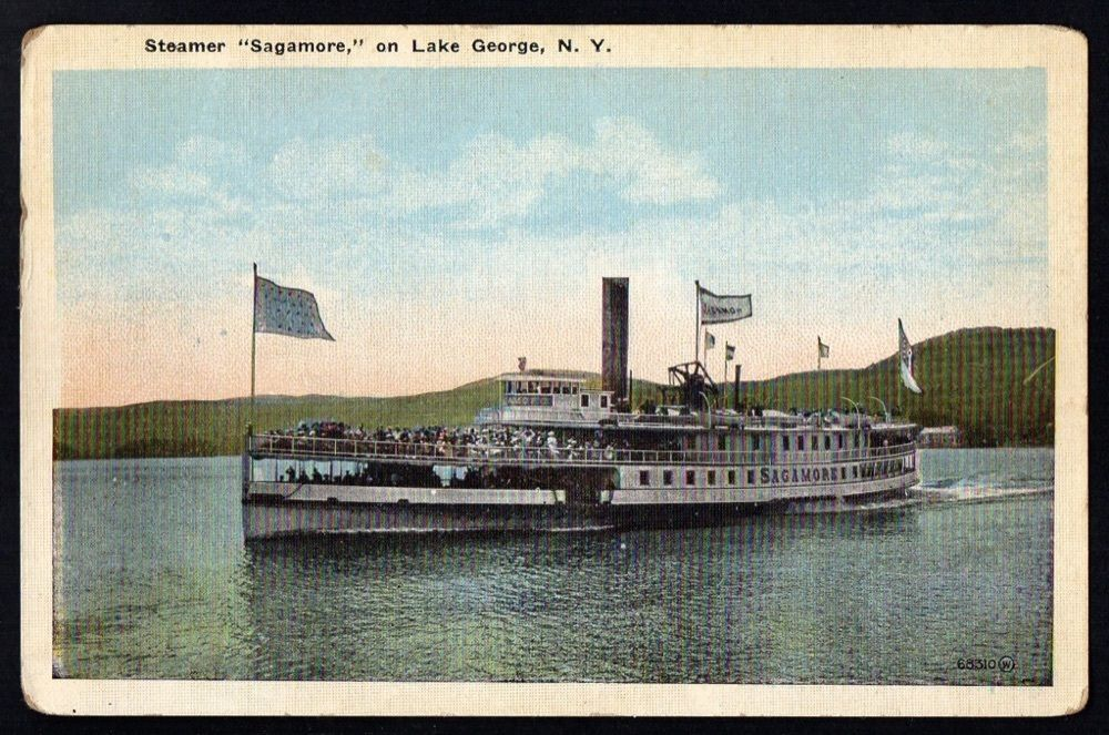 Steamer Sagamore On LAKE GEORGE NY JS Wooley Postcard - Can you take a steamer on a cruise ship