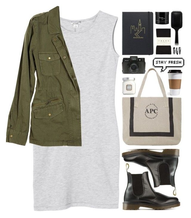 """'Cause sooner or later we'll wonder why we gave up."" by biljanamilenkovic ❤ liked on Polyvore featuring Holga, Monki, Velvet, A.P.C., Dr. Martens, Falke, GHD, philosophy, Laura Mercier and NLY Accessories"