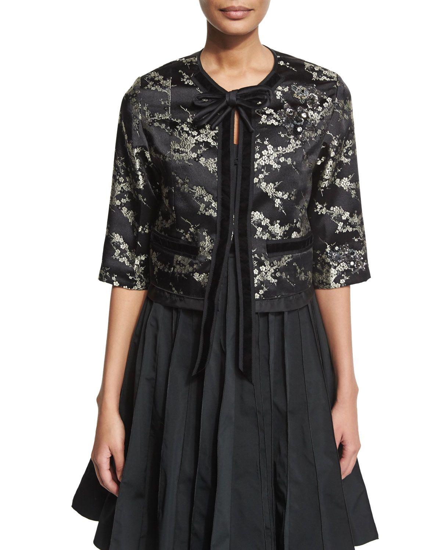 Embellished Velvet-Trim Jacket, Gold/Multi, Women's, Size: 4, Gold Multi - Marc Jacobs