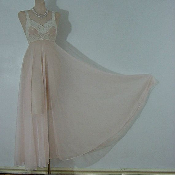 70s Sheer Sweeping Chiffon Miss Elaine Gown Small   Gowns, Vintage ...