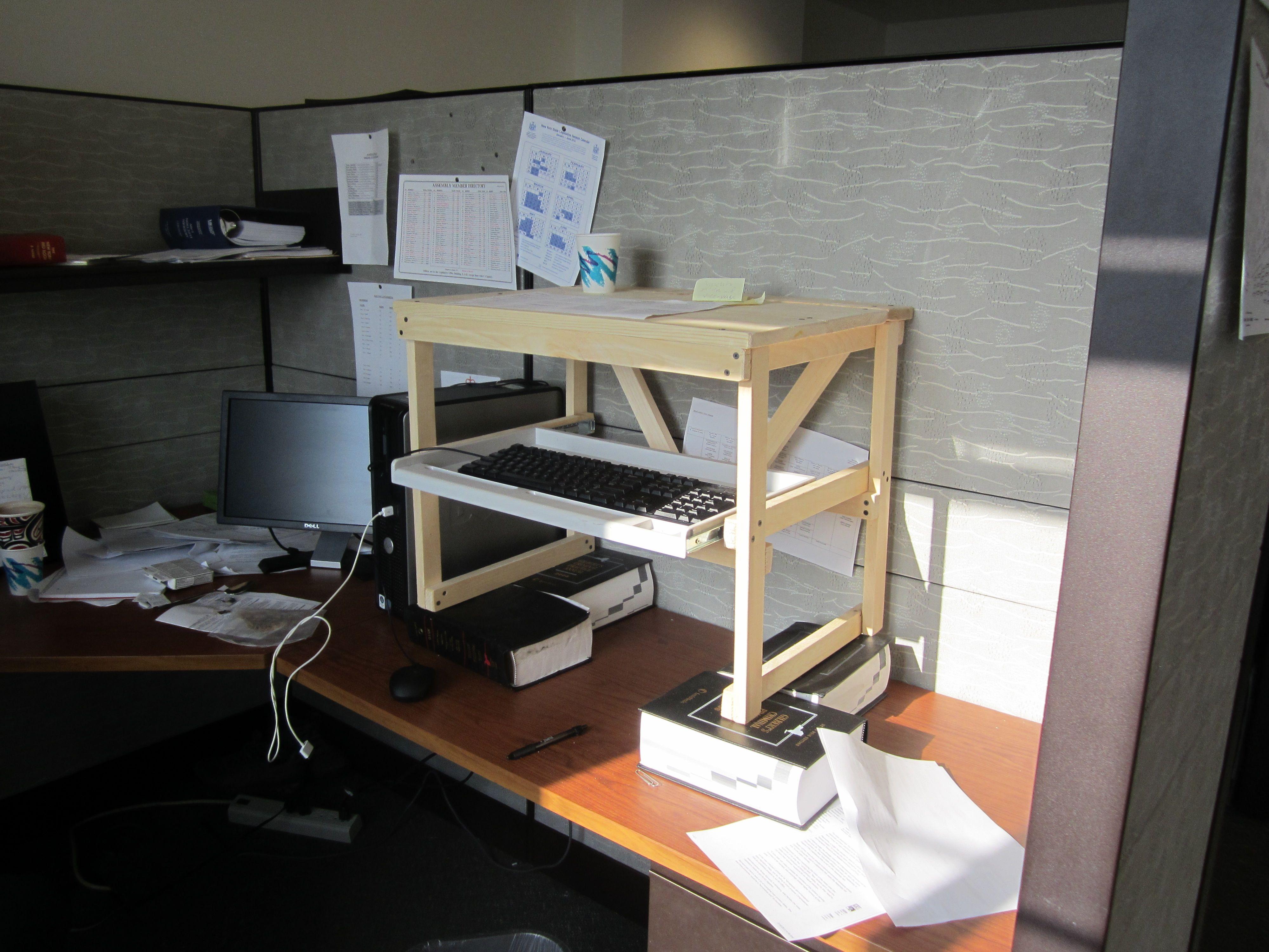 Home Made Standing Desk Diy Deskstand Up Deskdesk Planswooden