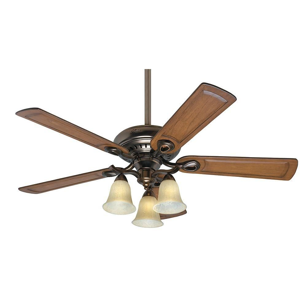Hunter Whitten 52 In Indoor Bronze Patina Ceiling Fan With Light Kit 54059 The Home Depot Ceiling Fan Ceiling Fan With Light Fan Light