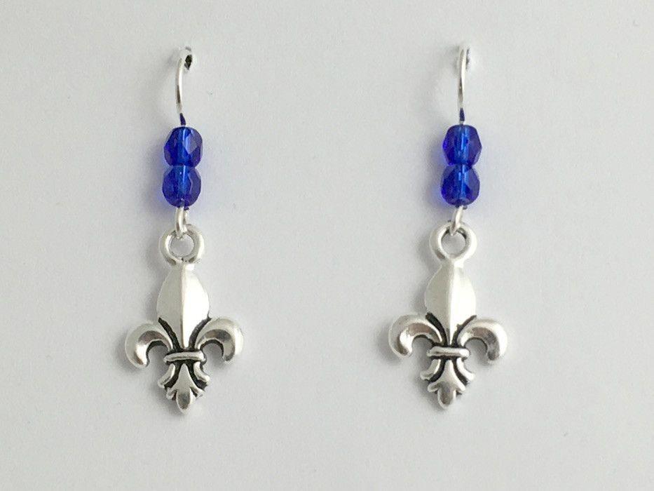 Pewter & Sterling silver Fleur-de-lis earrings- France, heraldry, lily, Scouting
