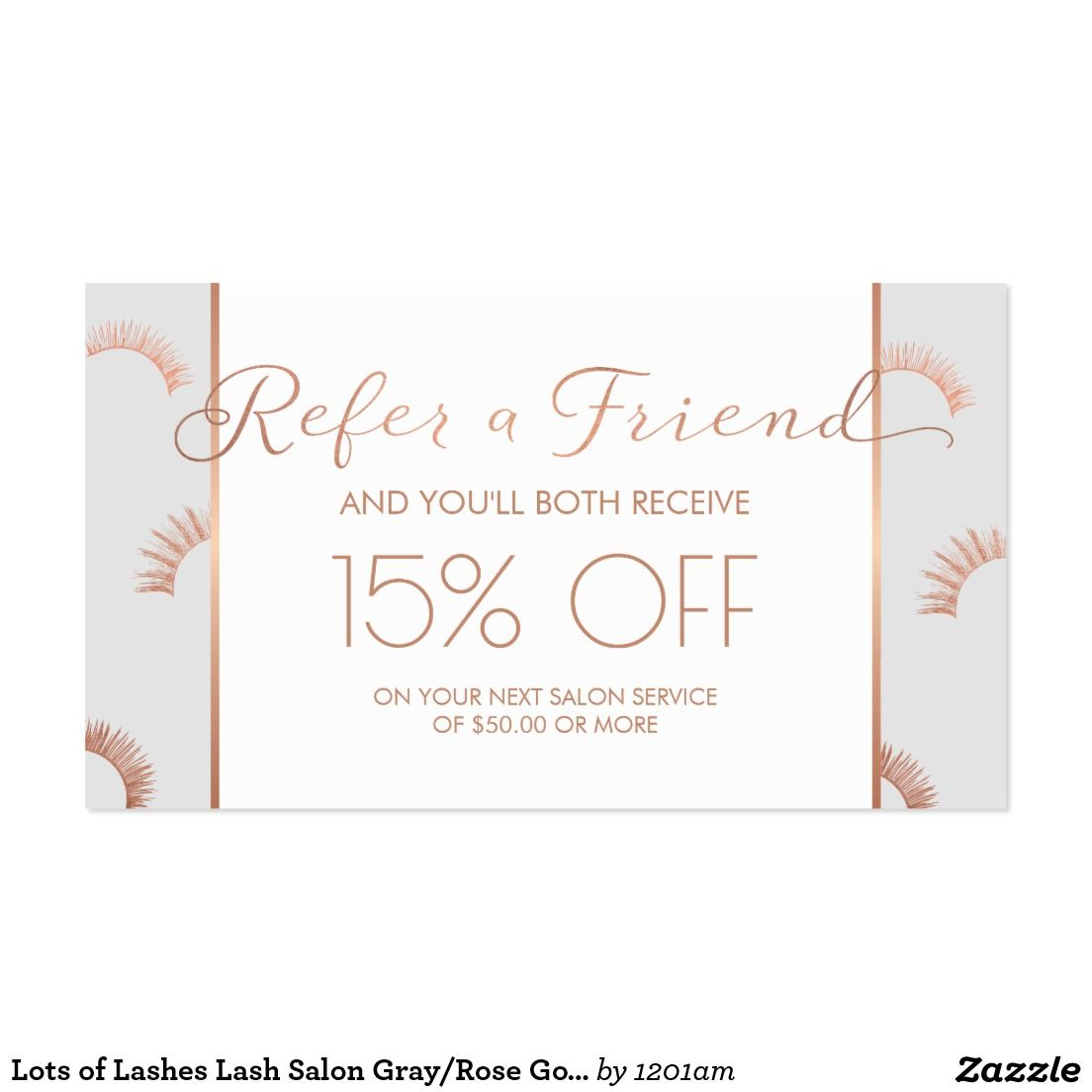 Lots of Lashes Lash Salon Gray/Rose Gold Referral Business Card ...
