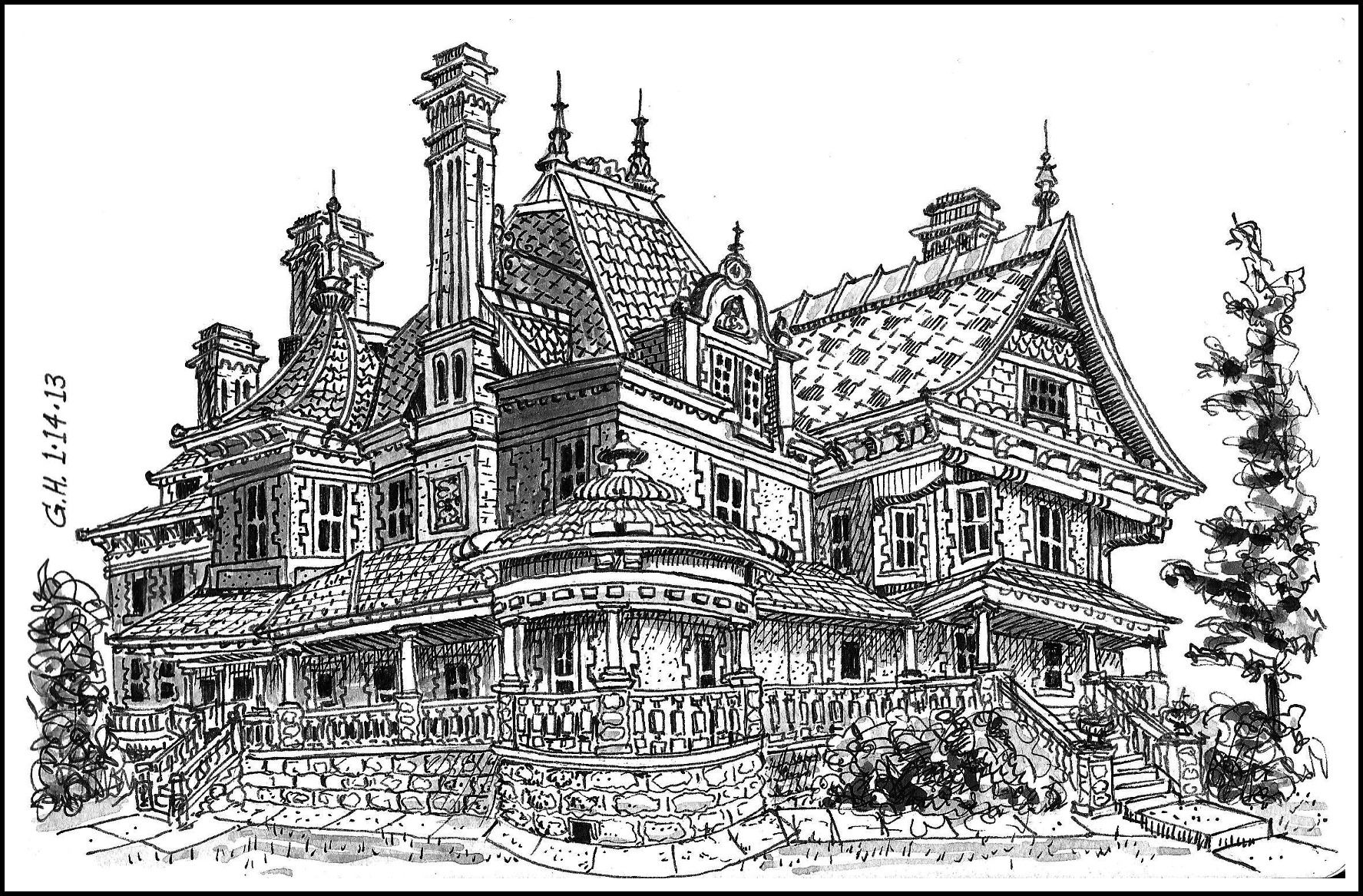 Pix For > Victorian Building Sketches   Black, white ...
