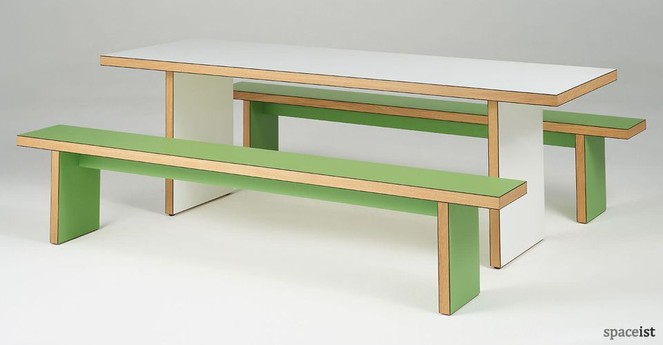 Astounding Green And White Canteen Table And Benches Furniture Table Ocoug Best Dining Table And Chair Ideas Images Ocougorg
