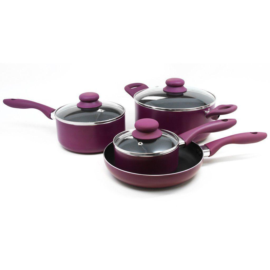 Gibson Colorsplash Branston 7 pc Cookware Set- Purple – SilkRoads Online