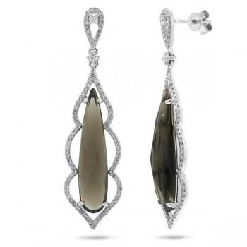 0.61ct Diamond & 8.76ct Smokey Topaz 14k White Gold Earrings-Allurez.com