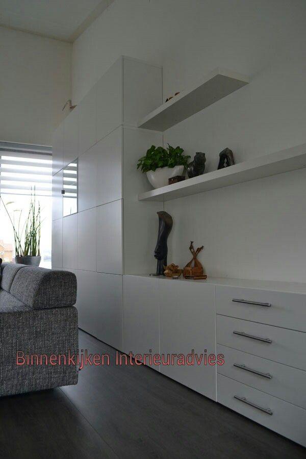 Inrichting Binnenkijken Interieuradvies kast Besta Ikea  Living room cabinetry ...