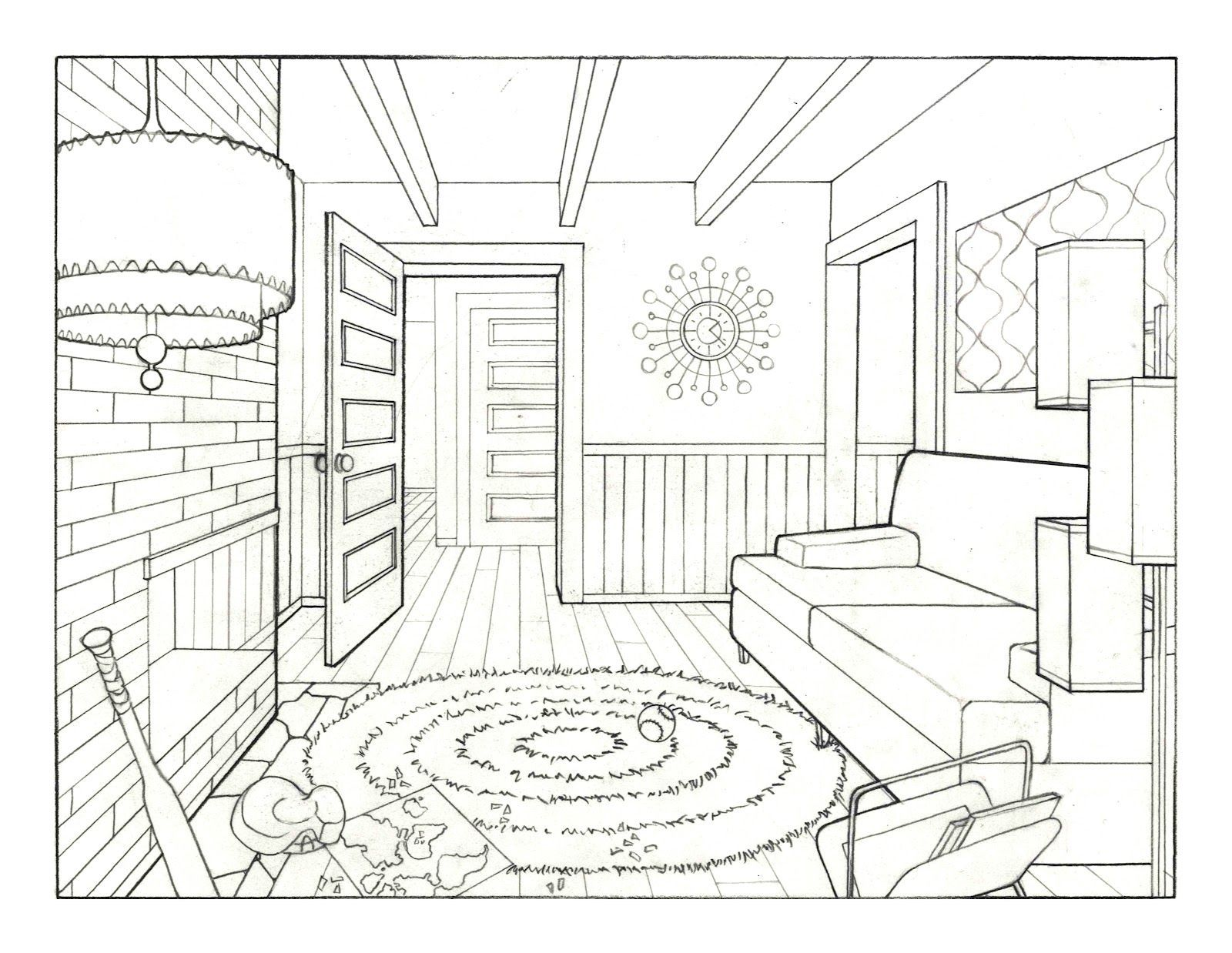One Point Perspective Drawing Room Living room drawing Flickr ...