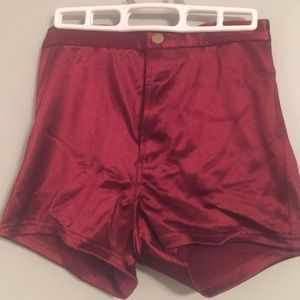 American Apparel Pants - Red satin booty shorts