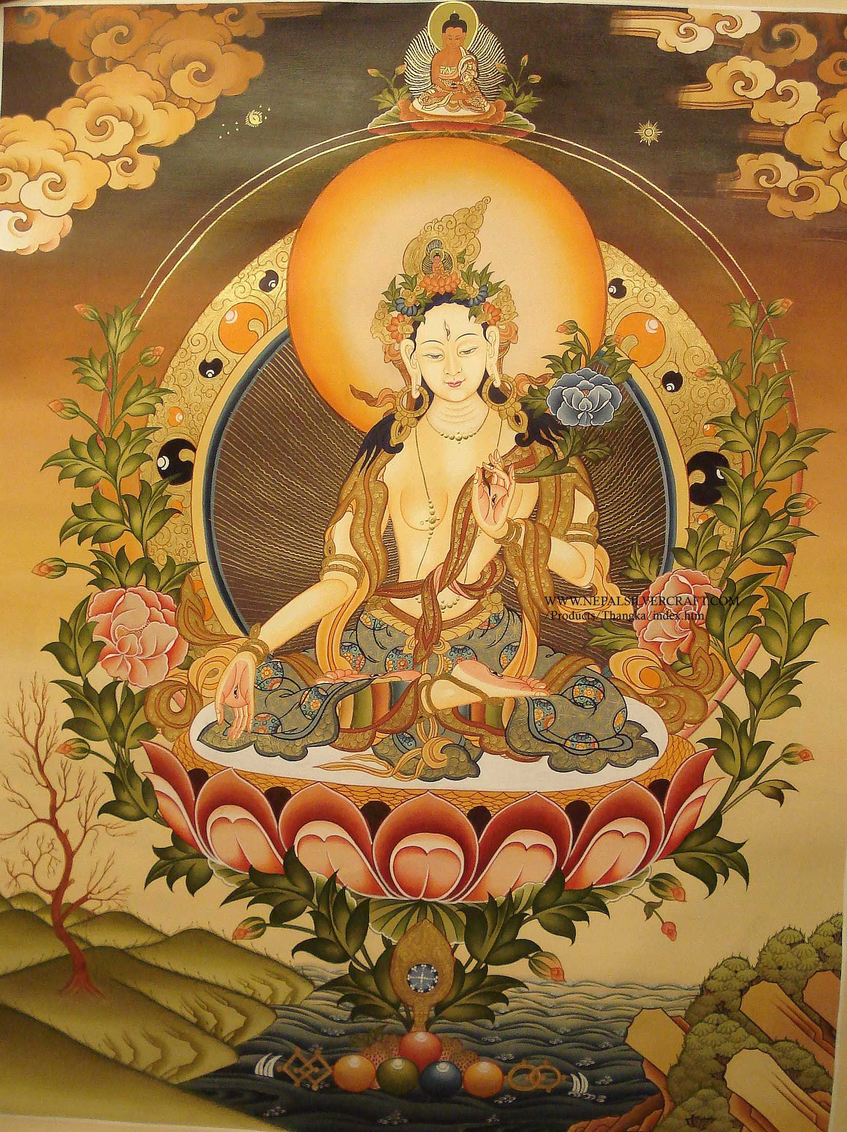 ABOUT WHITE TARA THANGKA PAINTING