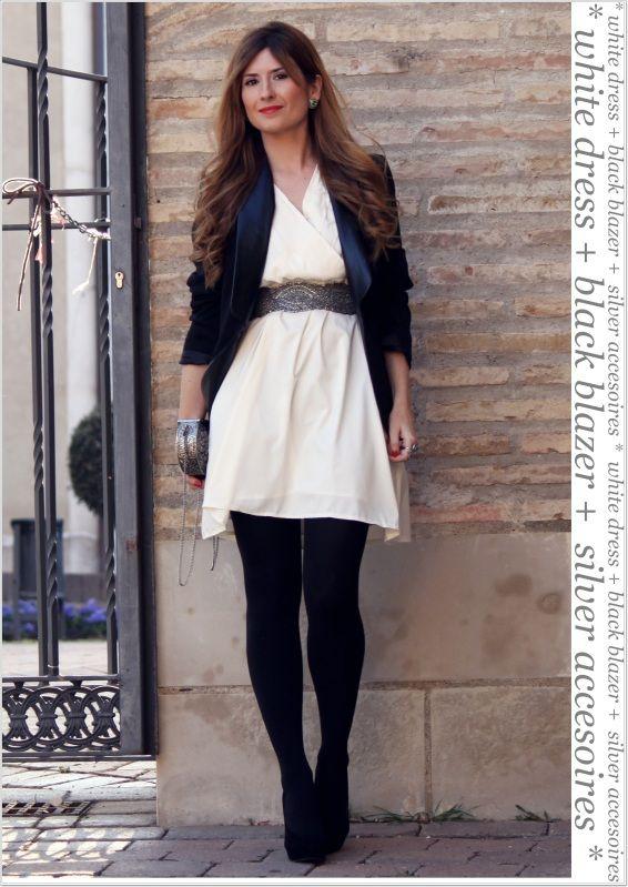 Look vestido blanco con negro