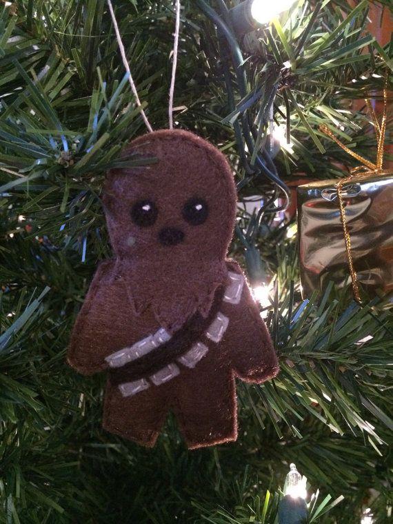 star wars felt chewbacca holiday ornament by lumpybuttonsgifts - Chewbacca Christmas Ornament