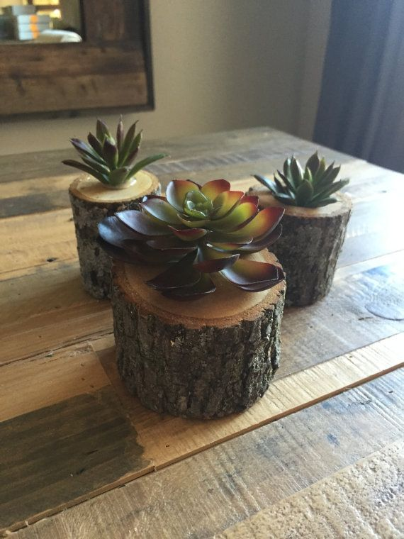 Faux Succulent Trio by ModernRusticEvents on Etsy
