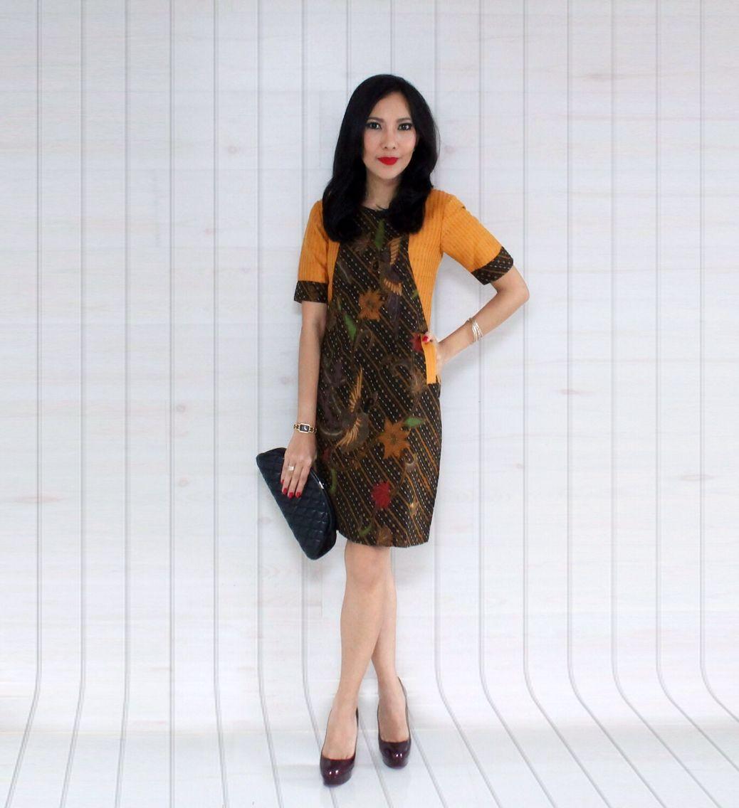 Pusat Baju Batik Di Bali: Batik Coletan Combi Tenun Rangrang Dress By DeCulture