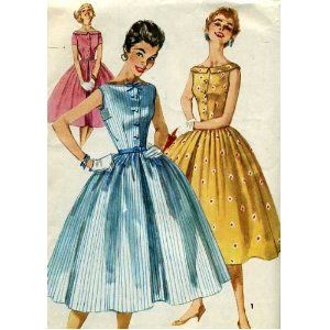 Simplicity 1191 Pattern Dress with Full Skirt and Wide Rounded Neckline