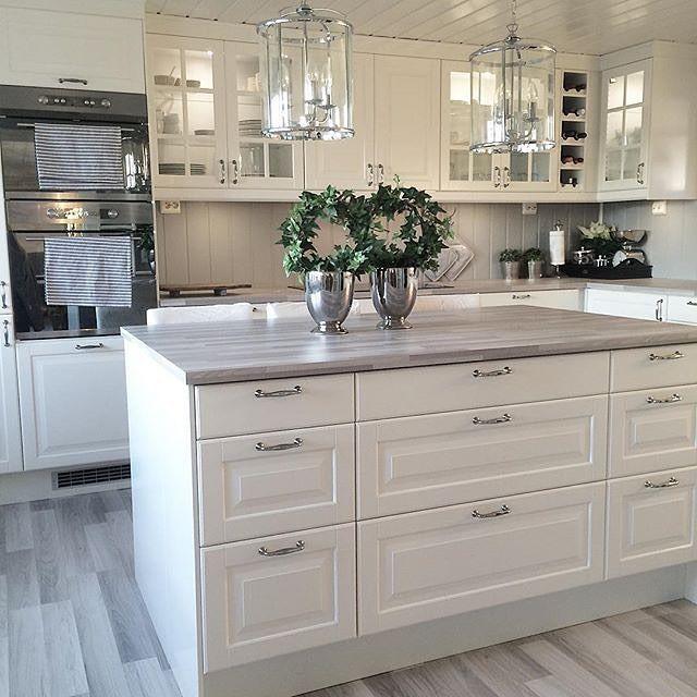 Küchenzeilen mit heller Arbeitsplatte aus Holz For the Home - shabby chic küchen