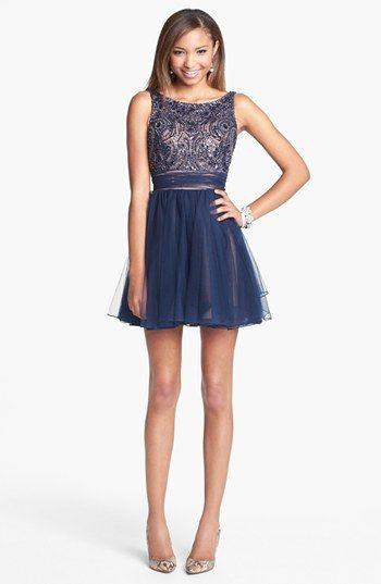 Sherri Hill Embellished Tulle Fit Flare Dress Nordstrom
