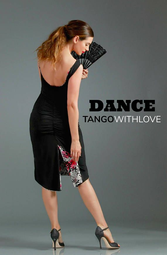 Red Black Floral Tango Dress Reversible Sabrina Low Back Ruched Dress with Slit Tail Milonga Ballroom Besame Mucho Tango With Love