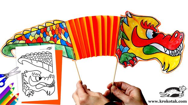 template for chinese new year printable dragon puppet httpkrokotakcom
