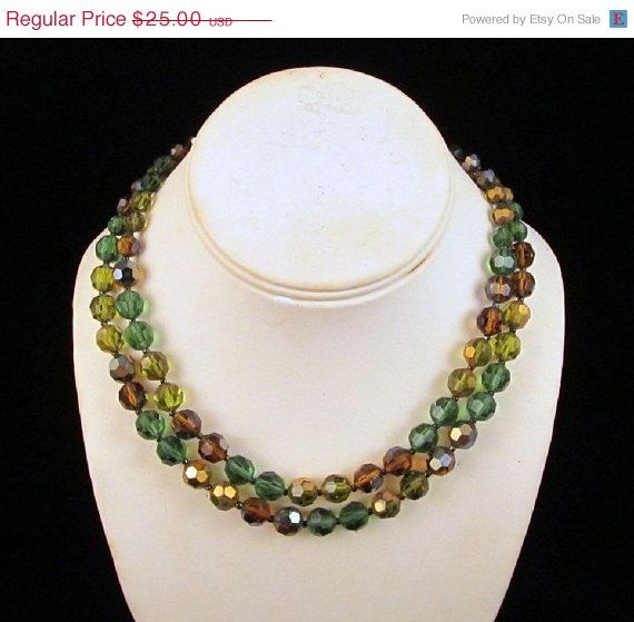 Marvella Bead Necklace Green Brown AB by GrapenutGlitzJewelry