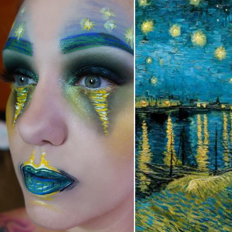 "Artist Lexie Lazear has a talent for doing creative and dramatic makeup. Recently she recreated Vincent Van Gogh's ""Starry Night Over…"