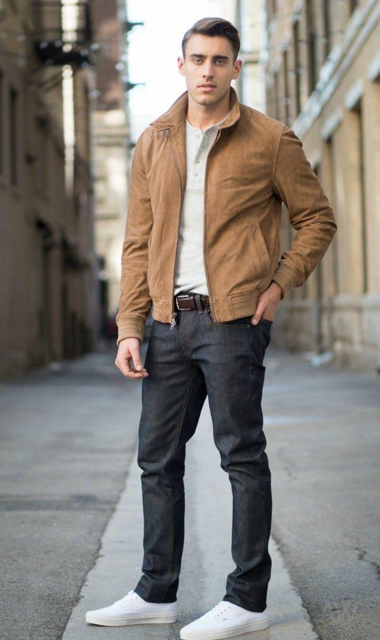 brown suede jacket grey sweatshirt black jeans mens street