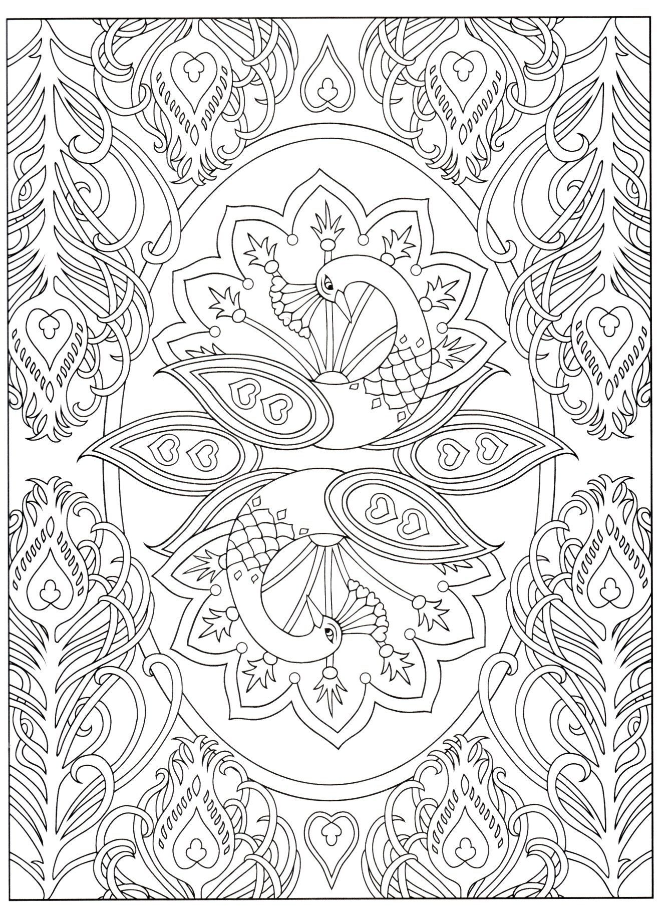 Creative Haven S Peacock Designs Peacock Coloring Pages Mandala