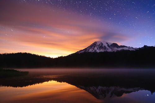 Water Mountain Sunset Stars