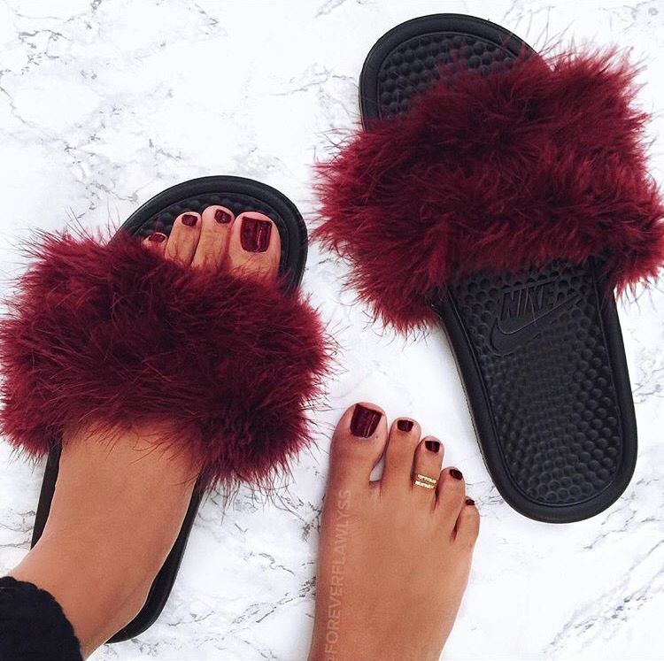 88a135346cc9d6 Red fur Nike Slides. These shoes would also make a great DIY project.  EmmaDiana
