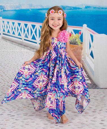 Another great find on #zulily! Royal Blue & Pink Audrey Handkerchief Dress - Toddler & Girls #zulilyfinds