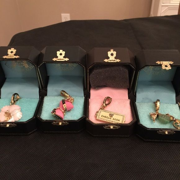 Vintage Juicy Charms Vintage Charms, never out if the box. Excellent condition! @juicyaddict all 4 together! Juicy Couture Jewelry