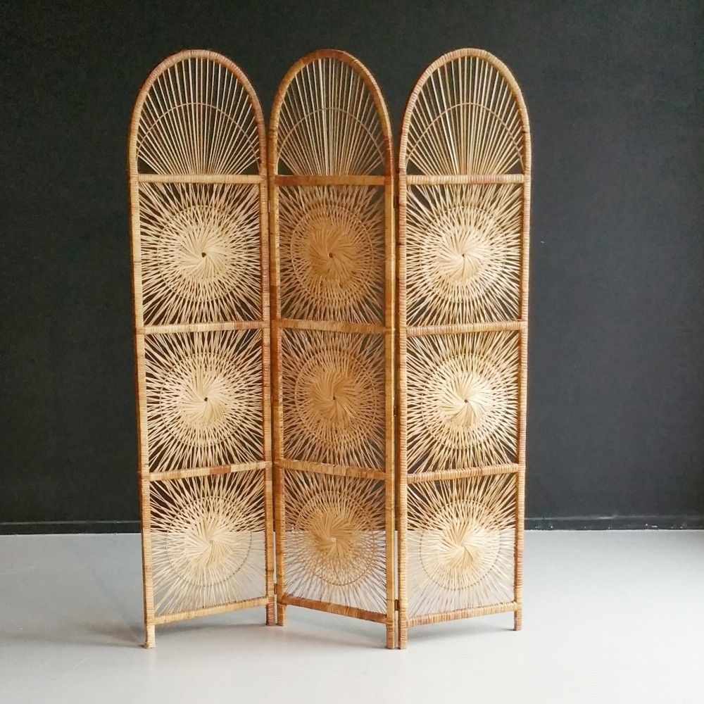 Rattan Room Divider Folding Screen By Rohe Noordwolde 1960s