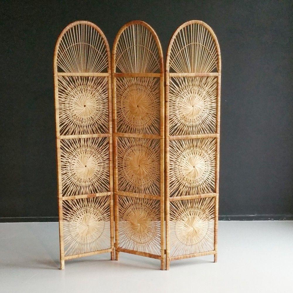 Rattan room divider folding screen by Roh Noordwolde 1960s