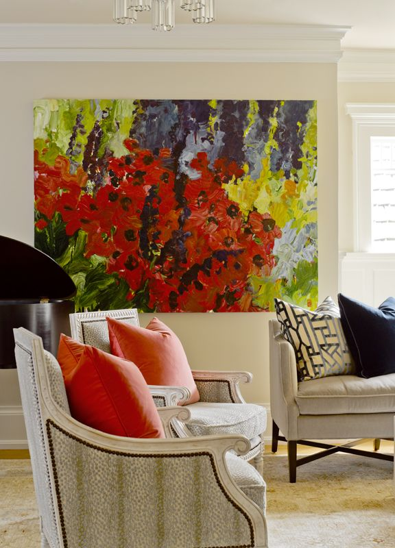 Beautiful Floral Painting In This Sophisticated Living Room 1 Of 19 Projects By Graciela Rutkowsi Interiors