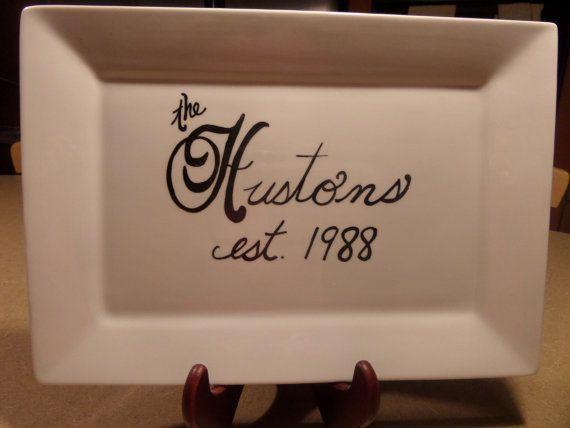 Monogrammed Serving Platter by OddlyAppropriateLLC on Etsy, $20.00