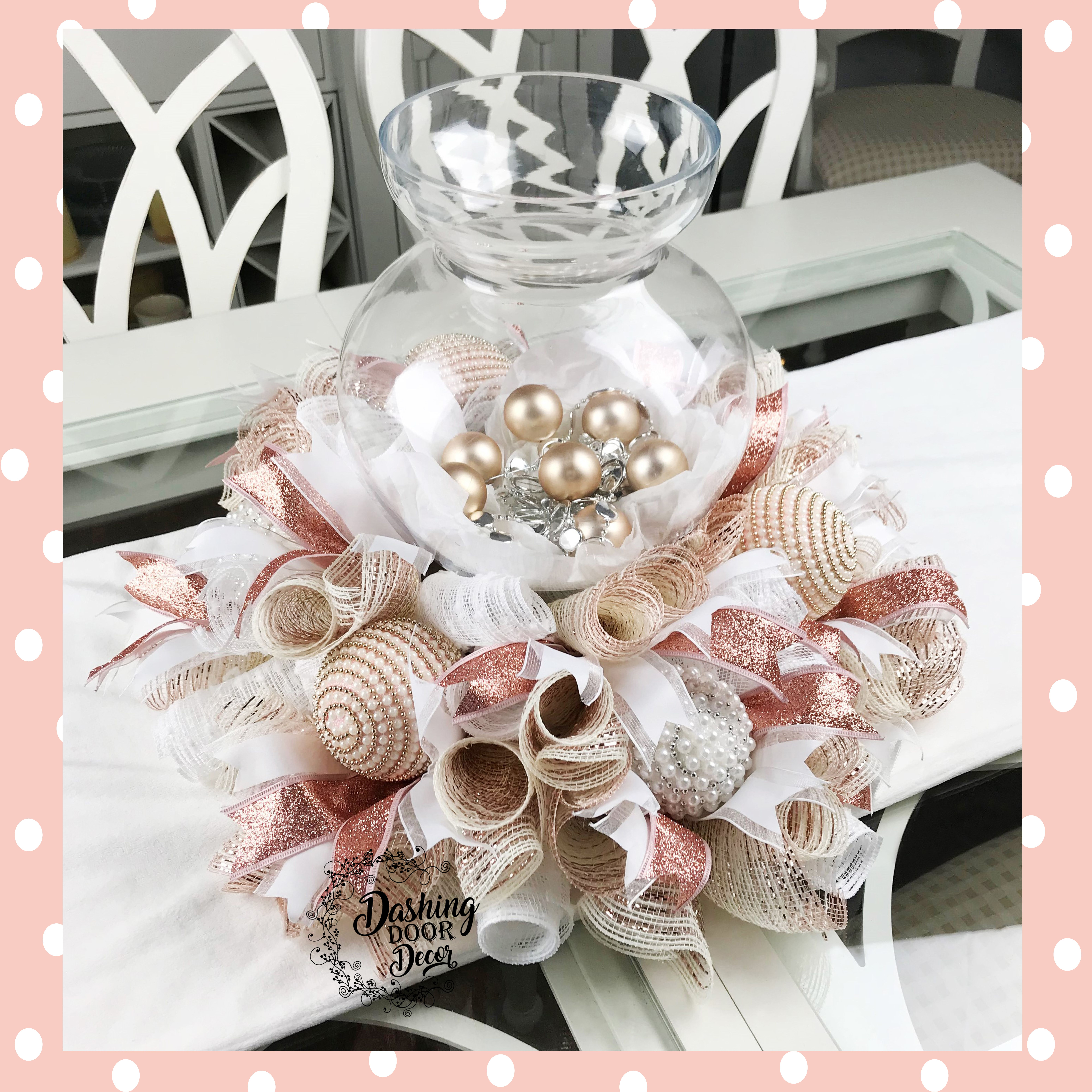 Simply Elegant Christmas Rose Gold Tabletop Centerpiece Rose Gold Christmas Elegant Christmas Christmas Decorations Centerpiece