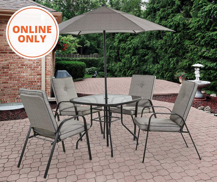 Wilson Fisher Ash Ridge Tan 6 Piece Cushioned Patio Dining Set With Umbrella Big Lots Patio Patio Dining Set Dining Set