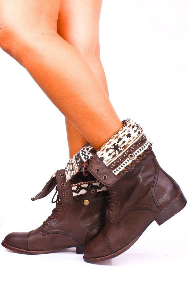 BROWN FAUX LEATHER LACE UP FOLD OVER COMBAT BOOTS