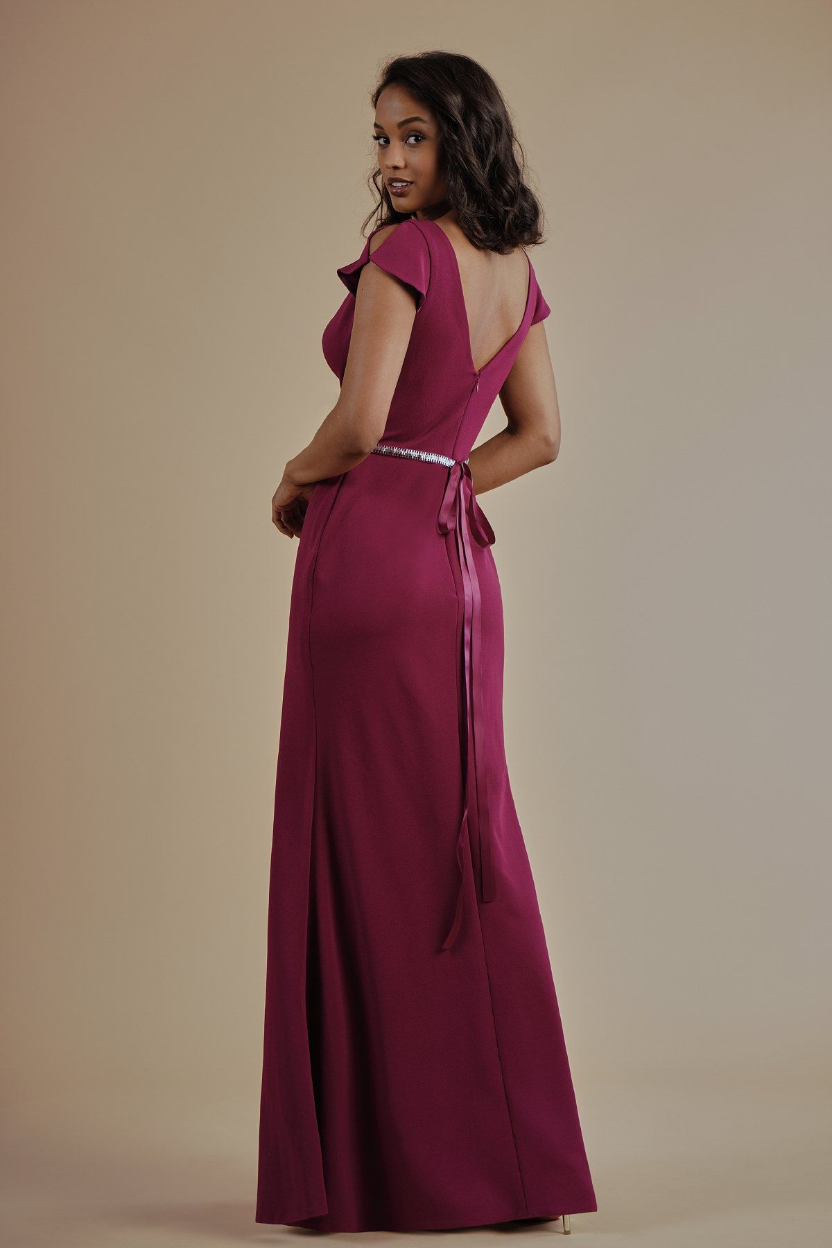 L214013 stretch crepe long bridesmaid dress with v