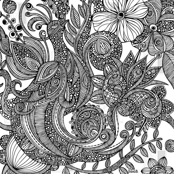 Valentina Ramos   Bird In Flowers Black White  - She has such fun details :)