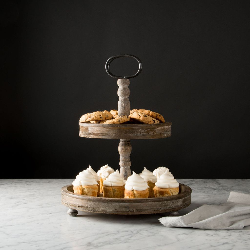 Wooden tiered stand magnolia farms frosting